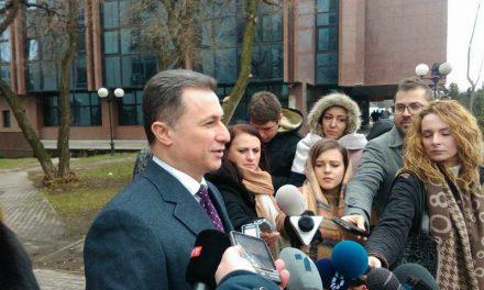 Груевски: Во судот треба да ми дадат канцеларија и плата, толку често доаѓам