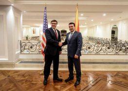 Средба на премиерот Заев со Заменик-помошникот државен секретар за европски прашања на САД, Метју Палмер (видео)