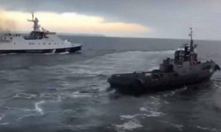 Видео: Моментот кога рускиот брод на крајбрежната стража, удира во украинскиот брод