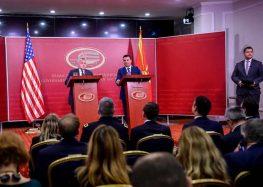 Заев и Саливан одговараа на новинарски прашања: САД остануваат со поддршка за спроведување на Договорот од Преспа