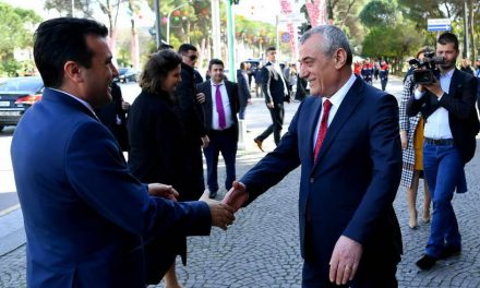 Средба на премиерот Заев и владина делегација со претседателот на албанскиот Парламент, Ручи во Тирана
