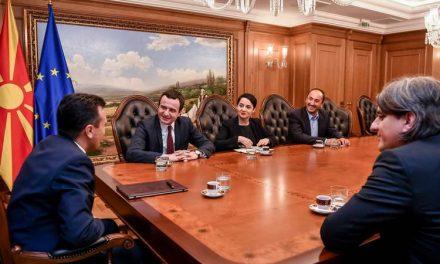 """Заев го прими лидерот на """"Самоопределување"""" Албин Курти: Добрите односи меѓу двете земји се од исклучително значење за Западен Балкан"""