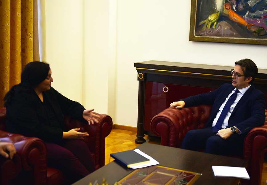 Претседателот Пендаровски ја прими постојаната координаторка на ООН во Македонија, Росана Дуџак