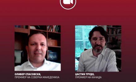 Спасовски и канадскиот премиер Трудо во разговор преку видео конференциска врска: КОВИД-19 е глобален предизвик и потребни се глобални одговори