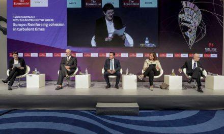 """Премиерот Заев на конференцијата на """"Економист"""" во Атина: Заедно се соочуваме со истите здравствени и економски предизвици, и заедно ќе ги надминеме, со поблиска соработка и со поголема солидарност"""