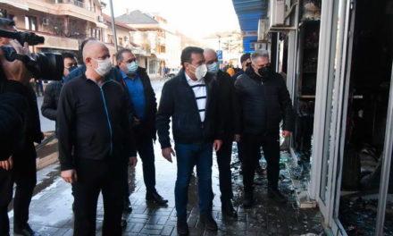 """Заев на увид по пожарот на """"Глобал"""" во Струмица: Заедницата ќе покаже солидарност, сите ќе помогнеме Струмица да се врати во нормала"""