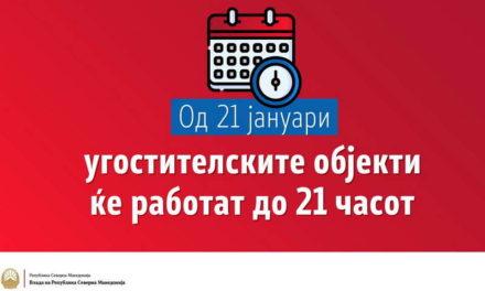 Од денеска, рестораните и угостителските објекти ќе работат до 21 часот