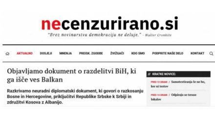 """Објавен словенечкиот """"нон-пејпер"""" за поделба на БиХ, но тој не предвидува поделба на Северна Македонија"""