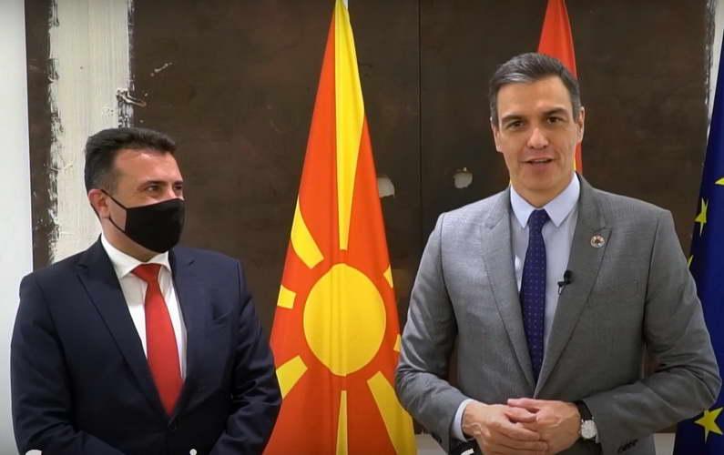 Премиерот на Шпанија, Санчез, до македонските граѓани: Оддаваме почит кон премиерот Заев и сите граѓани, може да сметате на нашата поддршка кон ЕУ