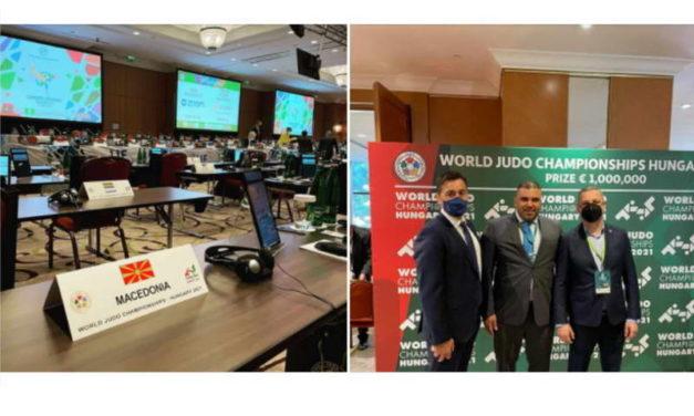 Претседателот на македонската Џудо федерација Трпаноски, на изборен Конгрес на Светската џудо федерација во Будимпешта